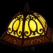 ANTIQUE Leaded Caramel Bent Slag Glass Art Deco Nouveau Decorated Lamp 1920