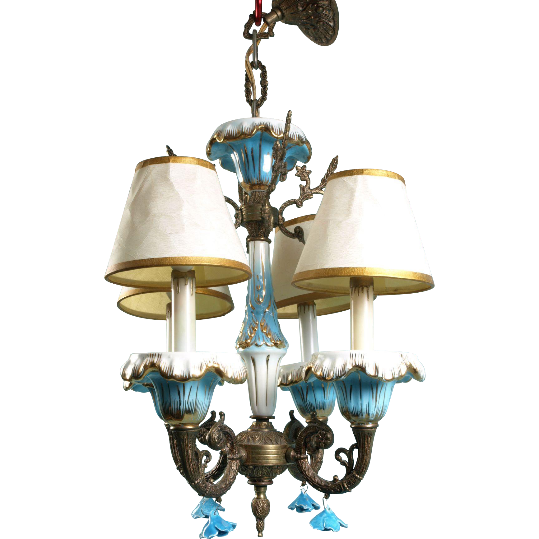 Antique vintage porcelain chandelier italian style blue flower antique vintage porcelain chandelier italian style blue flower light fixture arubaitofo Gallery