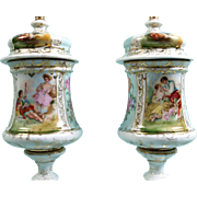 Antique Hand Painted Vases Urns Lid German French Lovers Victorian Couples LARGE
