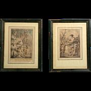 Pair of 18th Century etching OFFRANDE AU DIEU PAN J.B. Huet & ANTE DE LAMAPIE Pictures Lithographs Etchings