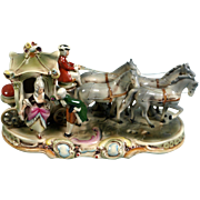 Antique 1886 Carl Schneider Erben Porcelain 4 Horses Carriage Figurine Lady