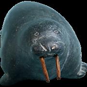 Vintage Inuit Eskimo Art Soapstone Carving: Sea Lion, Signed and numbered