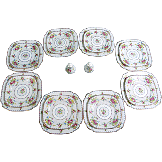 Royal Albert England Petit Point Luncheon Set Needlepoint Gold Roses Vintage