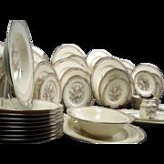 Huge Noritake IMPERIAL GARDEN Bone China Dinner Set Silver