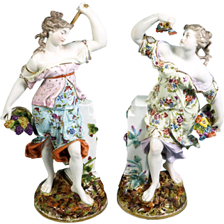 "HUGE 14.5"" pair Chelsea Porcelain RED Anchor Mark Figurines ANTIQUE circa 1754"