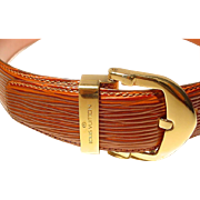 Vintage Louis Vuitton EPI Ladies' Belt - EPI Leather Orange Brown - Used - Excellent