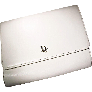Vintage Christian Dior Clutch / Shoulder Bag -- Classic White Leather - Never Used like New - 60's