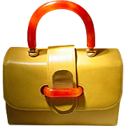 Vintage joseph magnin Tote Purse Yellow Leather and Red handles -- Sturdy Used Well Kept