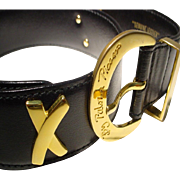 """Authentic Vintage By Paloma Picasso Belt - Black Leather w/ Gold Toned 4 """"X""""s & Buckle - Size S"""