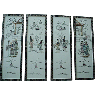 Chinoiserie Wood Stone Figure Frames of 4 - Wall Deco - 1930's