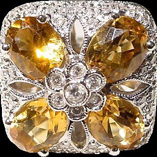 Floral Golden Citrine Diamond Gold Ring  18 KT W-Gold - Lovely Square