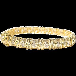 Heavenly Etruscan Diamond & Gold Bracelet 18 KT Y- Gold  2-Toned Matte & Polished - Tennis