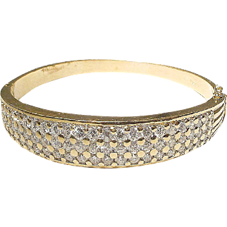 Brilliant Diamond Gold Bangle Bracelet 18K Y- Gold - Extra Fine White Diamonds Vintage 1960's