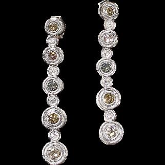 Natural Colored Diamond Earrings 18K W-Gold - Elegant Dangle & Sparkle