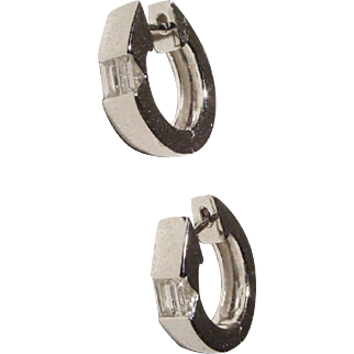 Most Elegant Diamond & Gold Hoop Earrings 18 KT W-Gold - Huggies - '80's Collections Brand-New