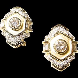 Etruscan Diamond Earrings 18KT Y-Gold - 2-Toned Matte & Polished - Art Deco
