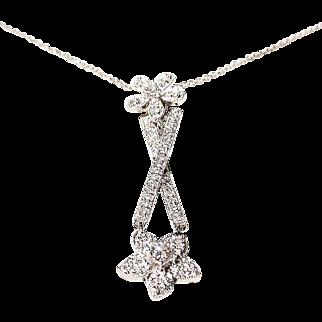 Flower & Stick Diamond Pendant 18K W-Gold - Lovely Gift