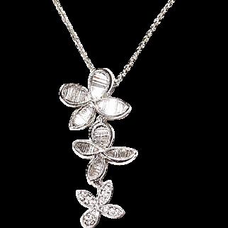Wonderful Clovers -Trapezoid Baguette Diamond Pendant 18K W-Gold