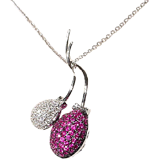 Fascinating Invisible Set Red Ruby Diamond Pendant 18 KT W-Gold - Lovely Fruits