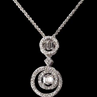 "Exquisite Diamond Pendant /Slide 18K W- Gold - LA LA Pendant of 80""s"