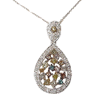 Natural Multi-Colored Diamond Pendant 18K W-Gold - Pendulum Dramatic