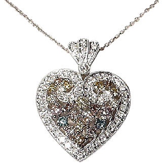 Heart-Shaped Natural Multi-Colored Diamond Pendant 18K W-Gold - Gorgeously Vintage