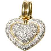 ❤️❤️ -- Exquisite Heart Diamond Pendant /Slide 18 KT Yellow Gold - Crust Diamonds - Fully & Precisely Diamond Sculptural Heart