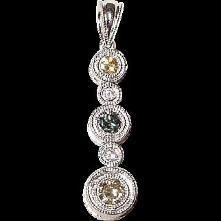Natural Colored Diamond Pendant 18K W-Gold