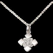 Most Elegant Princess Square Diamond Pendant 18 KT W-Gold - Lovely Squares