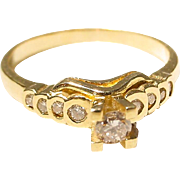 Small Engagement Diamond Ring 18 KT Y-Gold