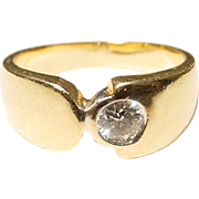 Simple Diamond & Gold Anniversary Band 18KT Y-Gold - Vintage 60's