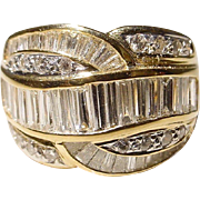 Retro Wide-Band Diamond Ring 18 KT Y-Gold Baguette Weaving - Vintage 70's