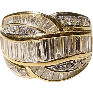 Retro Wide-Band Diamond Ring 18 KT Y-Gold Baguette Weaving - Vintage 70's