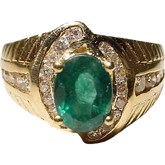 Dark Green Emerald Diamond Ring 18K Y- Gold - Great Emerald Neutral Band