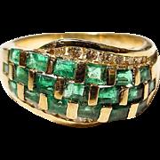 Dark Green Emerald & Diamond Ring 18 KT Y- Gold - Baguette Emeralds Exotic Banded