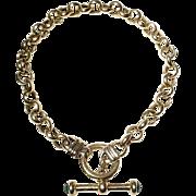 """Toggle Gold Bracelet 14KT Y-Gold - Ring Links with Emeralds 7.5"""" - Vintage"""