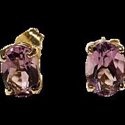 Amethyst Earrings 14K Y- Gold Simple Studs Oval Natural Purple - Vintage