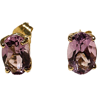Amethyst Earrings 14K Y- Gold Simple Studs Oval Natural Purple - Vintage
