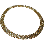 Classy & Truly Neck-lace 14 KT Y-Gold Necklace Geometric Boxed Links - Shinny Vintage