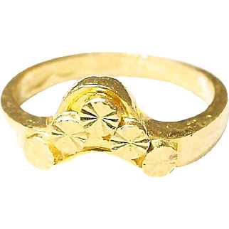 24K Gold Ring - Pure Yellow Gold - Diamond Cut Work Rounds - Vintage