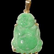 Buddha Green Jade Pendant 14KT Yellow Gold - Lush Apple Green Jade - Status of Buddha - Vintage