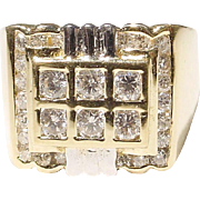 Men's Diamond Ring 18 KT Yellow Gold - Art Deco Style Two Toned - Diamond Checkerboard - Vintage 1970's