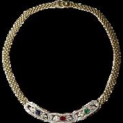 Spectacular Plaques - Multi-Gem Pendant Necklace 18 KT Y-Gold - Festivals - Vintage '70s