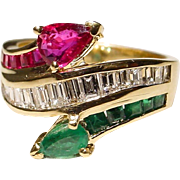 Multi-Gem Ruby Emerald Diamond Ring 18 KT Y-Gold - Classic Bypass - Vintage '70s
