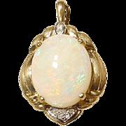 Beautiful Fired Opal Pendant with Diamonds 14 KT Yellow Gold - Natural Opal - Enhancer
