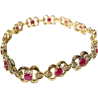 "Beautiful Ruby Bracelet w/ Diamonds 14K Y-Gold - Classic Florals - 7-1/4"" Vintage"