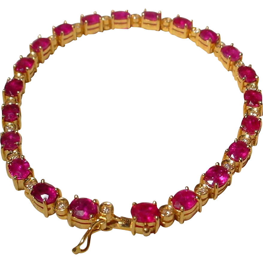 s bracelet itm gift tennis ruby white image plated gold wedding is zirconia cubic red loading