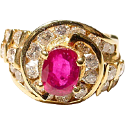 Superb Gem Red Ruby Diamond Ring 18 KT Y-Gold - Top Quality Ruby - Engagement Ring Vintage