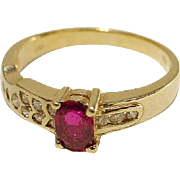 Most Elegant Ruby Diamond Ring 18KT Y-Gold - Anniversary Band - Top Quality Ruby