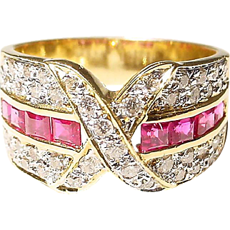 Red Ruby Diamond Ring 18 KT Y-Gold - Ribbons of Diamonds - Smooth Band - Vintage 70's